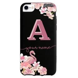 Black Case  Flamingos Pink Initial Phone Case