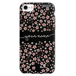 Black Case Cherry Flowers Handwritten Phone Case