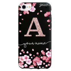 Black Case - Cherry Petals - Initial Glitter Phone Case