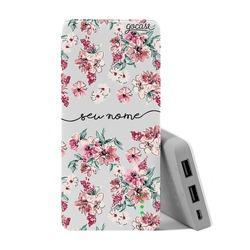 Carregador Portátil Power Bank (10000mAh) - Flores Rosê