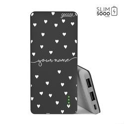 Power Bank Slim Portable Charger (5000mAh) Black - Pattern White Hearts
