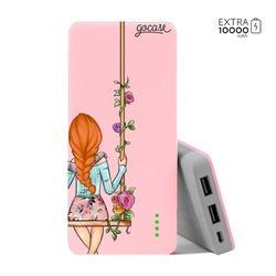 Carregador Portátil Power Bank (10000mAh) Rosa - BFF - Floral (Direita)