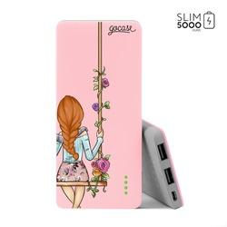 Carregador Portátil Power Bank Slim (5000mAh) Rosa - BFF - Floral (Direita)