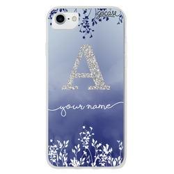 Capinha para celular Arranjo Azul Glitter Prata