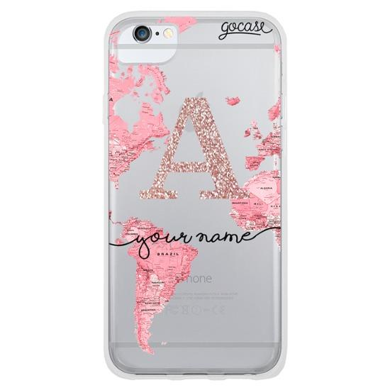 Pink World Map Initial Glitter Phone Case