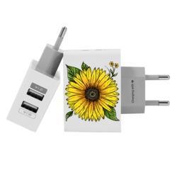 Carregador Personalizado iPhone/Android Duplo USB de Parede Gocase - Girassol Decor