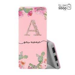 Carregador Portátil Power Bank Slim (5000mAh) Rosa - Cactos Glitter By Nah Cardoso