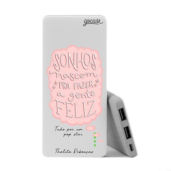 Carregador Portátil Power Bank Slim (5000mAh) - Sonhos - Rosa by Thalita Rebouças