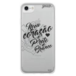 Capinha para celular Corinthians - Coração Preto e Branco