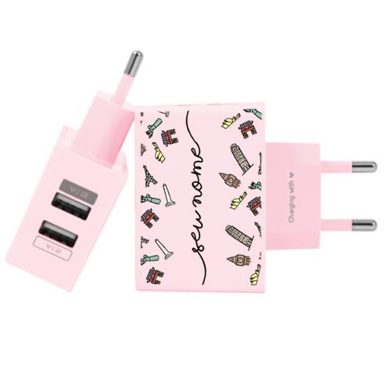 Carregador Personalizado Rosa iPhone/Android Duplo USB de Parede Gocase - Viagem dos Sonhos Manuscrita by Bruna Vieira