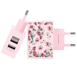 Carregador Personalizado Rosa iPhone/Android Duplo USB de Parede Gocase - Flores Rosê