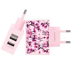 Carregador Personalizado Rosa iPhone/Android Duplo USB de Parede Gocase - Flor de Cerejeira