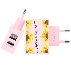 Carregador Personalizado Rosa iPhone/Android Duplo USB de Parede Gocase - Jardim de girassóis