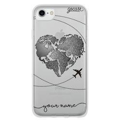 World Map Heart (Black) Phone Case