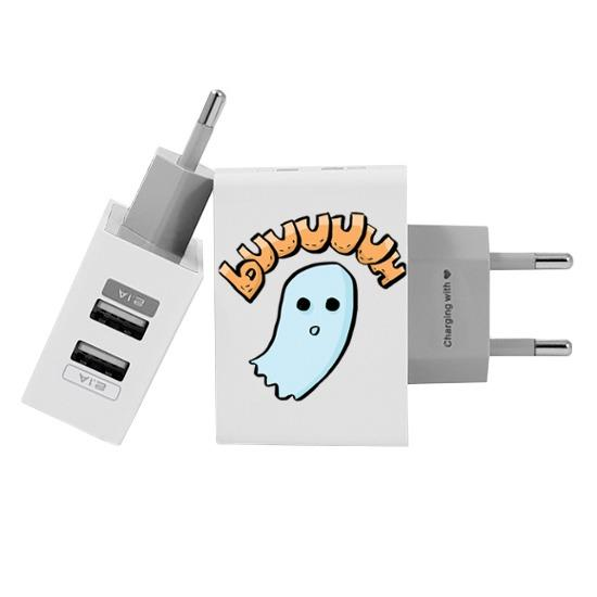 Carregador Personalizado iPhone/Android Duplo USB de Parede Gocase - Fantasminha