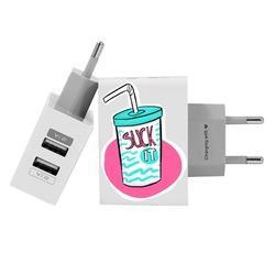 Carregador Personalizado iPhone/Android Duplo USB de Parede Gocase - Suck It