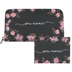 Carteira Saffiano Personalizada - Flores Royale Manuscrita