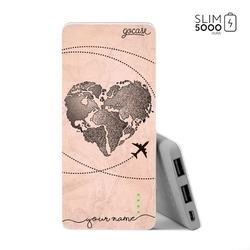 Power Bank Slim Portable Charger (5000mAh) - World Map Heart Vintage