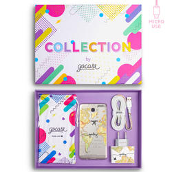Kit World Map Blank Travel Handwritten (Samsung Case + wall charger + cable Mirco USB + collection box)