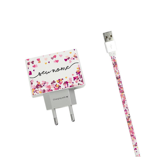Kit Corações Flutuantes (Carregador Personalizado Duplo USB + Cabo iPhone Lightning)