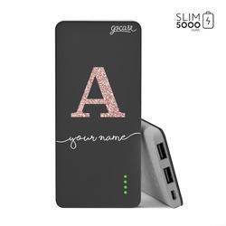 Power Bank Slim Portable Charger (5000mAh) Black - Initials Glitter Rose