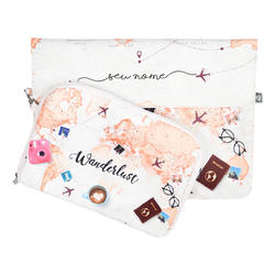 Kit Capa para Notebook 15'' + Porta Acessórios - World Trip Manuscrita