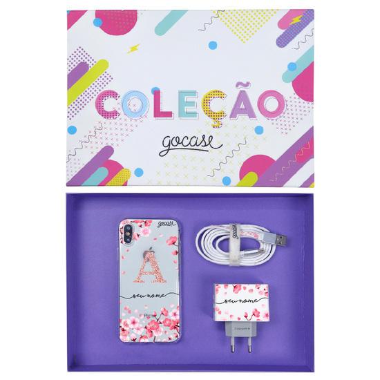 Kit Pétalas de Cerejeira (Case iPhone + Cabo iPhone Lightning + Carregador Duplo + Caixa Minha Coleção)