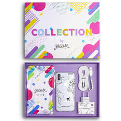 Kit World Map Lines Handwritten White (Case + wall charger + cable + collection box)