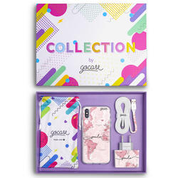 Kit World Map Pink Handwritten (Case + wall charger + cable + collection box)