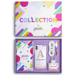 Kit Hearts Handwritten Initial Glitter (Case + wall charger + cable + collection bag)