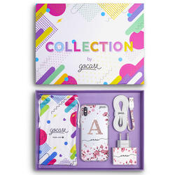 Kit Cherry Petals initial glitter (Case + wall charger + cable + collection box)