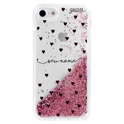 Glitter Flow - Pattern Black Hearts Handwritten Phone Case