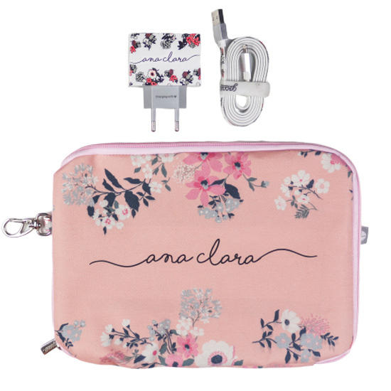 Kit Bem Floral (Cabo Micro USB + Carregador Duplo + Porta Acessórios)