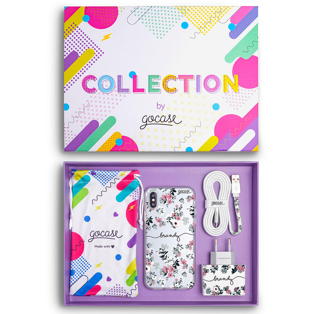Kit Lovely Floral Handwritten (Case + Wall Charger + Cable + Box Collection)