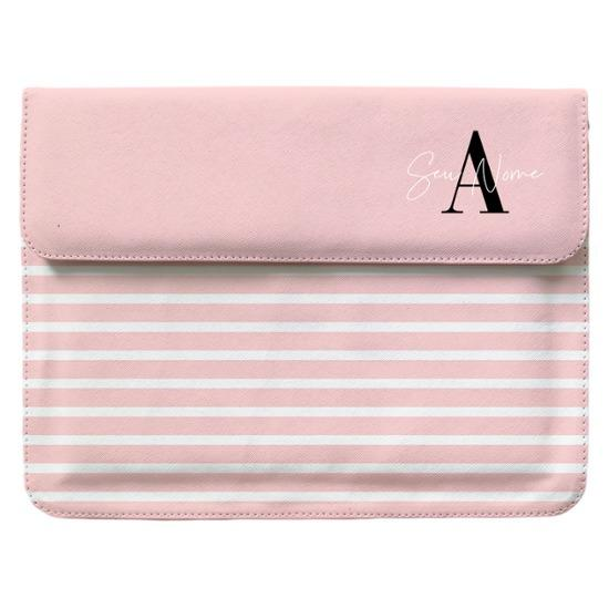 Capa para Notebook - Pink Listras - Iniciais Fancy