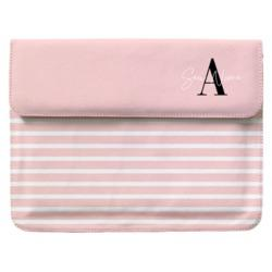 Capa para Notebook - Pink Listras - Iniciais Fancy
