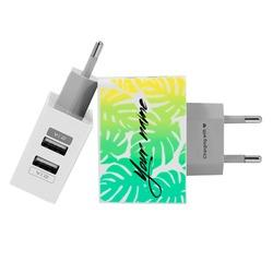 Customized Dual Usb Wall Charger for iPhone and Android - Tropical Leaves Custom - Summer Collection