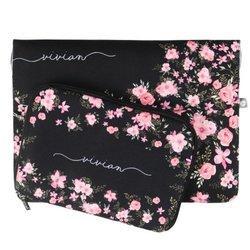 Kit Capa para Notebook 15'' + Porta Acessórios - Flores Royale Manuscrita