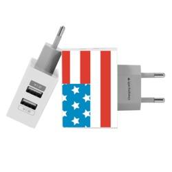 Customized Dual Usb Wall Charger for iPhone and Android - USA flag - Independence Day Collection