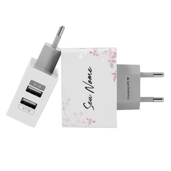 Carregador Personalizado iPhone/Android Duplo USB de Parede Gocase - Ramos Rosé Manuscrito Branco