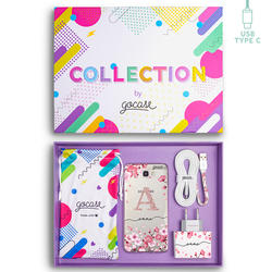 Kit Cherry Petals Initial Glitter (Samsung Case + wall charger + cable Type C + collection box)
