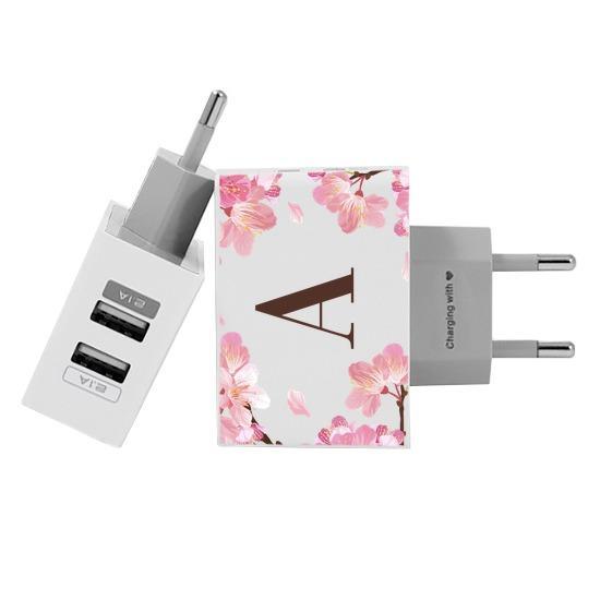Carregador Personalizado iPhone/Android Duplo USB de Parede Gocase - Cherry Garden