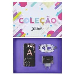 Kit Ramos Rosé Glitter (Case + Cabo Micro USB + Carregador Duplo + Caixa Minha Coleção)