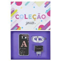 Kit Ramos Rosé Glitter (Case + Cabo Micro Type C + Carregador Duplo + Caixa Minha Coleção)