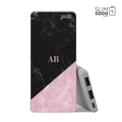 Carregador Portátil Power Bank Slim (5000mAh) Milano - Black & Rose Marble - Iniciais