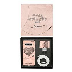Kit Collection - Coração Mapa Mundi Vintage - Cabo Micro USB