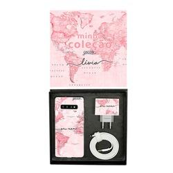 Kit Collection - Mapa Mundi Rosa - Cabo Micro USB