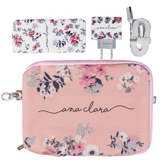 Kit Bem Floral (Cabo Micro USB + Carregador Duplo + Carregador Portátil 5000mAh + Porta Acessórios)