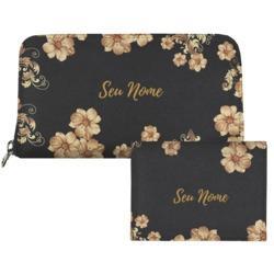 Carteira Saffiano Personalizada - Golden Flowers