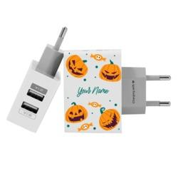 Customized Dual Usb Wall Charger for iPhone and Android - Pumpkins